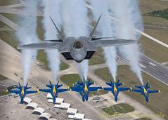Air to Air over MCAS Beaufort (colinbristow) Tags: f22 f18 raptor hornet beaufort marinecorps blue blueangels