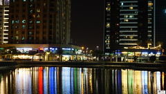 Lakeside Promenade at Night (soumikbi) Tags: urban nightscape night nightphotography reflections cityscape city lake promenade dubai uae jlt jumeirahlakestowers lightanddarkness