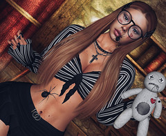 School Girl Antics !! (Sparkle Mocha) Tags: halloween fashion blog 3d pin mesh spiders blogger collection secondlife gamer blogging bloom bloody firestorm voodoodoll blogg readingglasses facetattoo barretts doux maitreya slhair skinnery revoul genushead