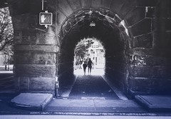 Lil' tunnels (Nun Nicer Artist) Tags: analog 35mmstreetphotography street tunnel travel bnw blackandwhite film newyork nyc nunnicer people walking citylife monochrome streetphotography