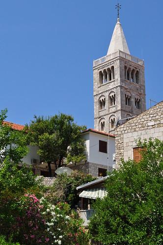 Grand campanile XIIe, Rab, île de Rab, Comitat de Primorje-Gorski Kotar, Croatie.