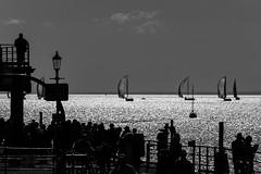 Farewell (daveknight1946) Tags: essex southend souyhendpier yachts sun people silhouette sea riverthames lookingeast