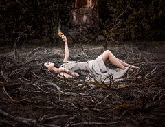 The Flame ({jessica drossin}) Tags: jessicadrossin woman flame fire sticks twigs pyre outdoors halloween creepy wwwjessicadrossincom macabre darksplendor