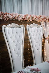 Beautiful wedding vintage chairs with a flowers. (shixart1985) Tags: accessories attractive beautiful bridesmaids ceremony chair choice cute decor decorations dreamy elegance emotion fashion flower furniture glamour handmade happiness happy indoors love manufacture night party retro table together togethness vintage wedding white wood wooden