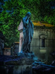 Still waiting.... (Sherrianne100) Tags: moody somber sculpture art cemetery mourning grief pèrelachaisecemetery france
