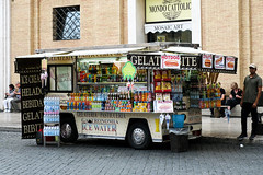 Refreshments at the Vatican (Simon Downham) Tags: vatican st peters square italy rome gelato icecream gelataria goodies snacks food junk sweet fast sweets drinks drink cola coke tuc pope sell sales vendor beer