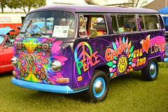 A far out VW van (radargeek) Tags: mustang wildhorsepark oklahoma 2019 september the2019oldvolksshow vw van bus volkswagen psychedelic 1970 transporter butterfly peace sign groovy farout