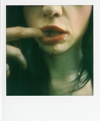 (Blackhur.st) Tags: polaroid polaroidslr680 tip impossible whiteframe film analogue instant integral red lips oralfixation mouth dripping honey blackhurst
