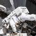 NASA astronaut Christina Koch works while tethered near the Port 6 truss