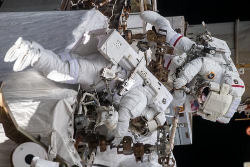 Spacewalkers Christina Koch and Andrew Morgan