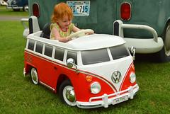Driving her new VW bus (radargeek) Tags: mustang wildhorsepark oklahoma 2019 september the2019oldvolksshow vw van kid child children kids bus volkswagen redhair