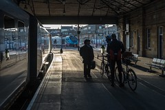 The shape of things to come (Nodding Pig) Tags: scarborough railway station train yorkshire england greatbritain uk 2019 class68 dieselelectric locomotive vossloh stadler cat 68031 class185 dieselmultipleunit desiro siemens dmu 185110 tpe transpennineexpress bike bicycle cyclists 201902101018101