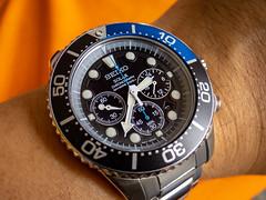 My Seiko Solar SSC017P for the day (Stratman² - (monitoring Joey's health)) Tags: powershots120 canonphotography seiko prospex ssc017p seikosolar chronograph timepiece quartz watch macro v1750ad0 diverswatch v175 solar