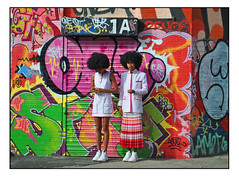 MODEL BEHAVIOUR (StockCarPete) Tags: london graffiti shutters women females fashion shoreditch afro