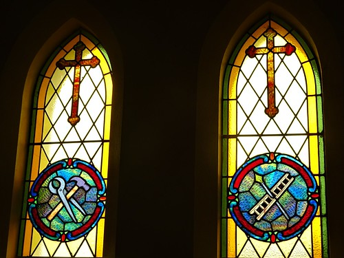 Wirrabara. Colourful stained glass window in the Wirrabara Catholic Church. From the 1930s.