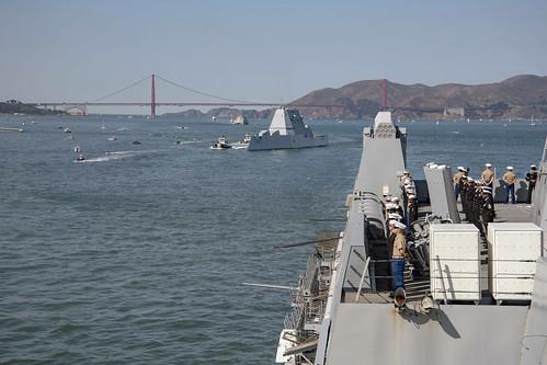 Sailors aboard USS Somerset (LPD 25) man the rails.