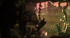 Prologue__11 (Immediate~C) Tags: lego drone drones proxy apocalypse postapocalypse postapocalyptic photoshop wasteland green plants freeway drainage lighting haze godrays vintage 28mm morning sunrise purple orange pink
