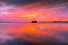 sunset 0100 (junjiaoyama) Tags: japan sunset sky light cloud weather landscape purple pink orange yellow contrast color bright lake island water nature autumn fall reflection calm dusk serene