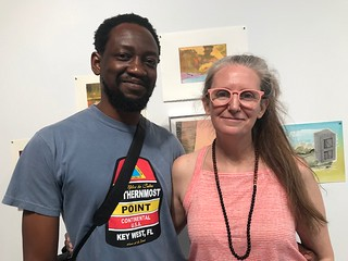 Artist/curator Adler Guerrier with artist/wife,  Kathleen Hudspeth, at Piero Atchugarry Gallery for the Progressive Art Brunch in the Little Haiti/Little River arts area