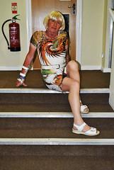 Catriona, Lyndhurst, 28.08.19, 022 (catrionatv) Tags: hampshire newforest lyndhurst disco corridor carpet steps stairtreads stairs skirtingboard sign fireextinguisher doorframe door doorhandle windowframe window feminisation transvestite tv transgender tg crossdresser crossdressing tgirl dressed posing cat catriona nightout eyeshadow lipstick red foundation powder makeup costume belt footwear dress pantyhose hosiery tights legs