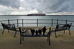 Southampton Water (Deepgreen2009) Tags: southampton netley water ship container war benches seating shore commemoration boat transport hampshire