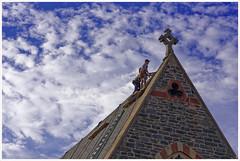 Church Repairs (Rex Block) Tags: nikon d750 dslr 85mm f18g washington dc 15thstreet street sky workers repairs church ekkidee