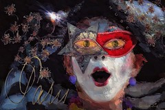 Painted Muse - Game of Charades (jimlaskowicz) Tags: jimlaskowicz night evening paris mask impressionistic artistic whimsical painterly art surreal pantomime game charades dream muse
