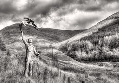 Glencoe & Dunbar (beelzebub2011) Tags: uk scotland glencoe dunbar johnmuir sculpture artwork composite bw monochrome