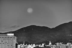 Kyoto Moonset (jgokoepke) Tags: kyoto moonset morning japan autumn bw