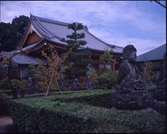 (✞bens▲n) Tags: mamiya 7ii kodak ektachrome 64d e64d ektachrome64d 80mm f4 film analogue 6x7 japan kyoto temple buddha idol idols garden