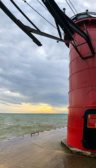 South Haven Lighthouse (2) (tquist24) Tags: lakemichigan michigan outdoor southhaven southhavenlighthouse cellphone clouds geotagged iphone iphonex lighthouse outside panoramic sky water sunset