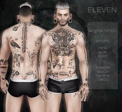 ELEVEN - Mortem Tattoo (Master Glendevon) Tags: eleven sl secondlife second life axel master glendevon tattoo ink tatty mortem applier belleza maitreya halloween skeleton