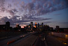 Sunset over Downtown Minneapolis, as viewed from the I-35W Franklin Avenue bridge