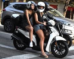 Stop light (thomasgorman1) Tags: traffic scooter helmet women woman motorcycle car stop intersection barcelona spain street people streetphotos public streetshots
