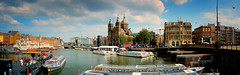 Amsterdam Panoramic (Dan Haug) Tags: panoramic panorama wide amsterdam nederland netherlands holland canal tourboats boattour tourists travel benelux xt3 xf1655mmf28rlmwr xf1655 fujifilm fujixseries july 2019 northholland explore explored