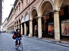 Around Bologna ... (█ Slices of Light █▀ ▀ ▀) Tags: archiginnasio cycling cyclist via dellarchiginnasio piazza galvani portico walkway arcade city urban bologna 博洛尼亚 波隆那 emilia romagna italia 意大利 italy panasonic lumix gm5