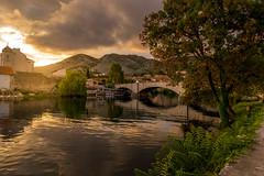 Trebišnjica River During Sunset (BirthofSamuel) Tags: clouds sky river water town trees sunset trebinje bosnia bosniaandherzegovina breathtaking picturesque scenery sonyalpha sonya6000 a6000photography sigmalens sigma16mm14 photography landscape bridge mountain reflection perfect
