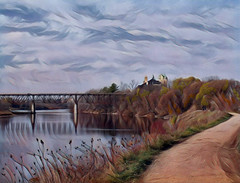 "Rail Bridge Trail, Cambridge (scilit) Tags: scenery landscape bridge railbridge path autumn trees water waterway river grandriver rocks bushes reeds building sky clouds colorful texture painterly nature ""exoticimage"" awardtree artdigital"