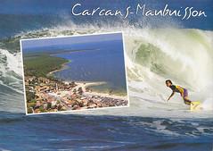 Postkarte / Frankreich (micky the pixel) Tags: postkarte postcard ephemera france frankreich carcans médoc meer sea atlantischerozean biskaya départementgironde surfer welle wave maubuisson