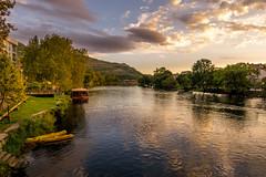 Trebišnjica River During Sunset (BirthofSamuel) Tags: clouds sky river water boat town trees sunset trebinje bosnia bosniaandherzegovina breathtaking picturesque scenery sonyalpha sonya6000 a6000photography sigmalens sigma16mm14 photography landscape perfect