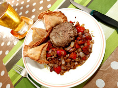 food glorious food (DOLCEVITALUX) Tags: food meal samosa hamburger tomato onion lumixlx100 panasoniclumixlx100 panasoniccameras