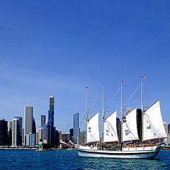 Chicago from Lake Michigan (pom'.) Tags: panasonicdmctz101 fromamovingvehicle chicago illinois usa sail sailing clipper lakemichigan skyline loop