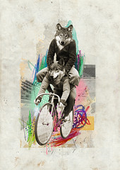 """""""Loups sur Roues"""" - Leo & Pipo, by José Ignacio Fernández (for.better.days) (Leo & Pipo) Tags: leoetpipo paris street art collage artwork portrait imaginary cut paste paper digital retro vintage mixed media graphic design old france music illustration dada surreal painting leo pipo duo together leopipo jose ignacio fernandez loup roue"""