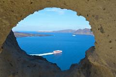 The Heart of Santorini, Megalochori (Seventh Heaven Photography - (Travel)) Tags: heartofsantorini megalochori santorini heart rock sea water blue ferry boat ship view island greece greek nikond3200