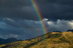 Golden Fall Sunset and Rainbow on South Baldy (rwbaldwin) Tags: colorado rwbaldwin sanjuanmountains dallasdivide fall autumn southbaldy goldensunset rainbow rockymountains stormy fallcampingtrip2019