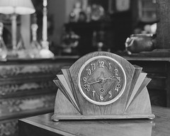 (Attila Pasek (Albums!)) Tags: vintage shop analogue hp5 bronicasqa clock blackandwhite mediumformat stock camera 120film table antique ilford film bw