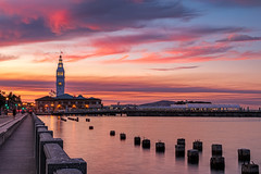 The Ferry Building (j1985w) Tags: california sanfrancisco buildings sunset sky clouds longexposure embarcadero water sanfranciscobay bay ocean reflection