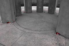 Roses at the Tower (George Neat) Tags: towerofvoices wind chime red blackwhite blackandwhite bw roses flight 93 national memorial ua93 shanksville stoystown united airlines somerset county september 11 2001 911 91101 neverforget rural country usa america remembrance monument georgeneat patriotportraits neatroadtrips outside pa pennsylvania laurelhighlands scenic scenery landscape wallofnames heroes windchime