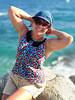 Vacations mood (piotr_szymanek) Tags: boadella costabrava lloret marzka woman milf beach water sea rock stone face eyesoncamera glasses sunglasses outdoor blue 1k 5k