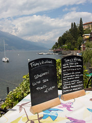(Bantamgirl) Tags: lunch menu italy como view lake lakeside todays special table